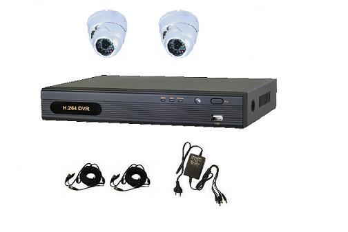 2 AHD IR Dome Camera System with 4ch AHD DVR Unit