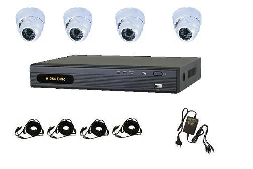 4 AHD IR Dome Camera System with 4ch AHD DVR Unit